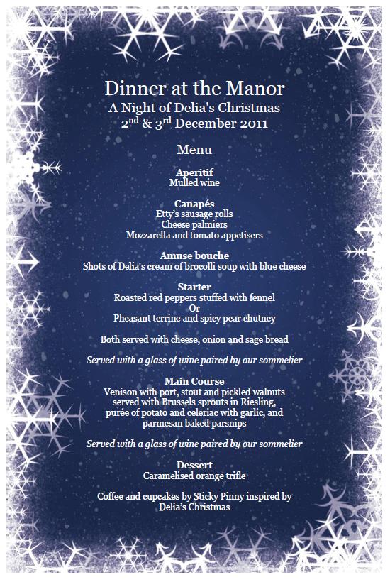 Dinner at the Manor December Delia Menu