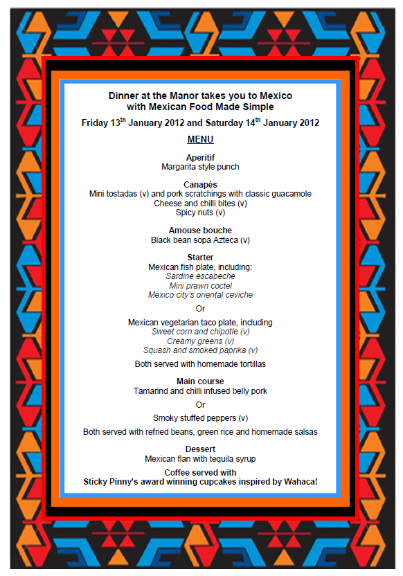 Dinner at the Manor January Menu