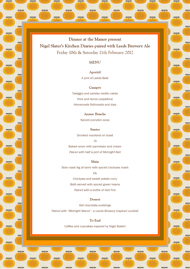 Dinner at the Manor Feb Menu 2012
