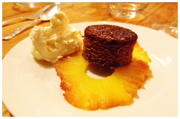Ginger cake with pineapple carpaccio