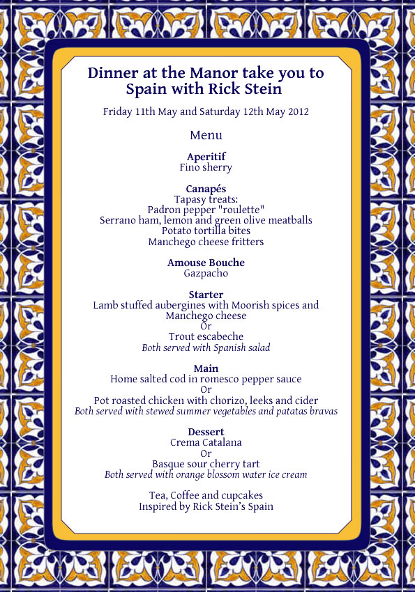 Dinner at the Manor Rick Stein Menu