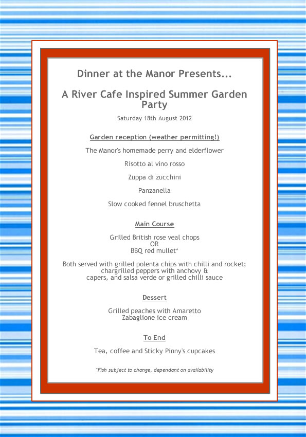 Dinner at the Manor August 2012 Menu