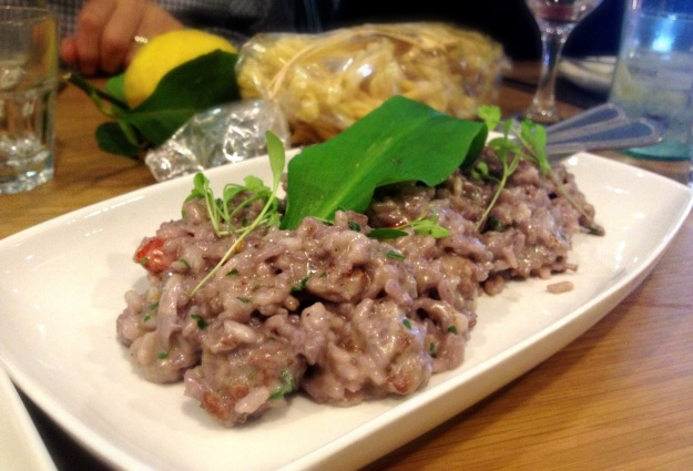 Red Wine Risotto with Italian Sausage