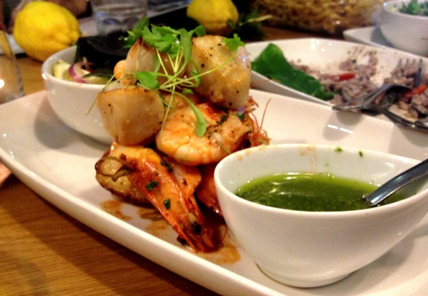 Scallops and Prawns with Salsa Verde