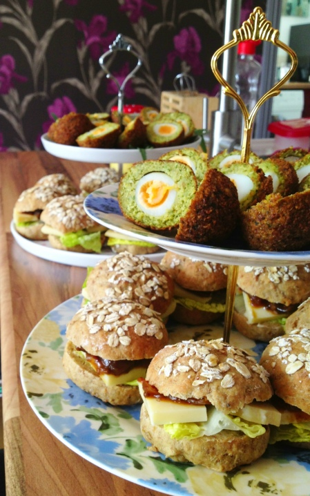 Dinner at the Manor Veggie Scotch Eggs Ploughmans Rolls