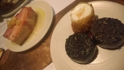 Pintura black pudding and pork belly