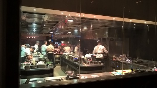 View of the kitchen from our table - no sign of Heston though!